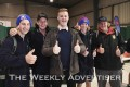 Logan Petering, Billy Dalziel, and Blake Turner,  Murtoa College, and  Gus Geue, St Brigid's College, with comedian Tom Ballard at Western Victoria Careers Expo 2019.